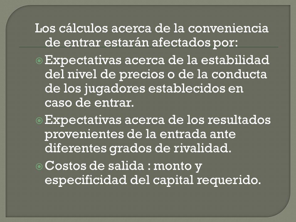 Los cálculos acerca de la conveniencia de entrar estarán afectados por: Expectativas acerca de la estabilidad del nivel de precios o de la conducta de