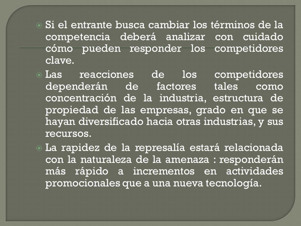 Si el entrante busca cambiar los términos de la competencia deberá analizar con cuidado cómo pueden responder los competidores clave. Las reacciones d