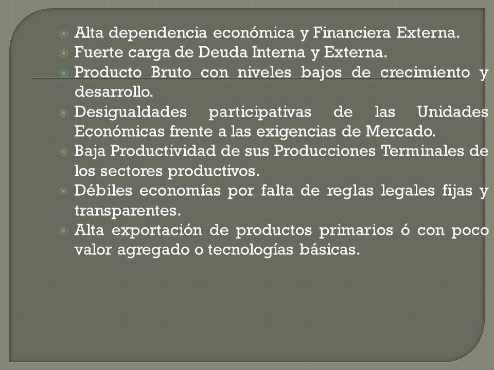 Alta dependencia económica y Financiera Externa. Fuerte carga de Deuda Interna y Externa. Producto Bruto con niveles bajos de crecimiento y desarrollo