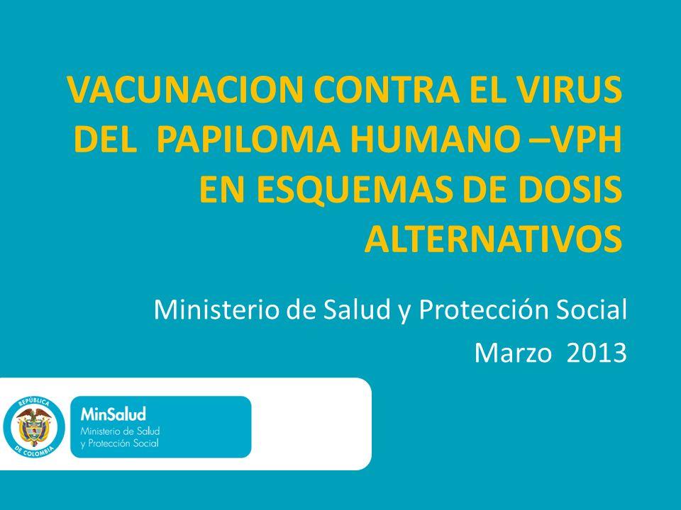 VACUNACION CONTRA EL VIRUS DEL PAPILOMA HUMANO –VPH EN ESQUEMAS DE DOSIS ALTERNATIVOS Ministerio de Salud y Protección Social Marzo 2013