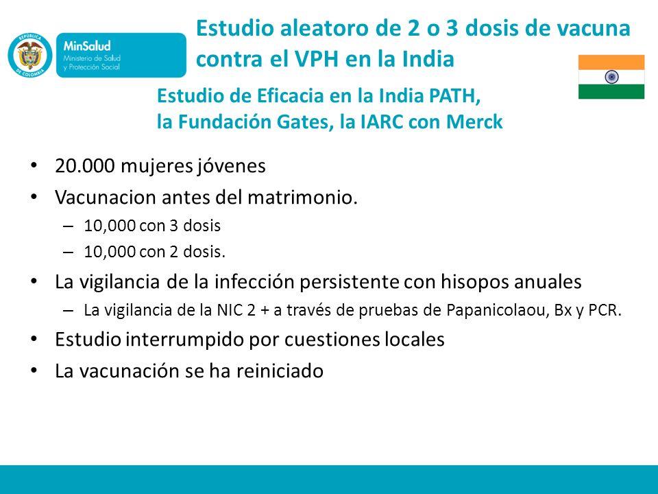 Estudio aleatoro de 2 o 3 dosis de vacuna contra el VPH en la India Estudio de Eficacia en la India PATH, la Fundación Gates, la IARC con Merck 20.000 mujeres jóvenes Vacunacion antes del matrimonio.