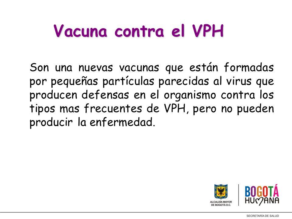 Vacuna contra el VPH Vacuna contra el VPH Son una nuevas vacunas que están formadas por pequeñas partículas parecidas al virus que producen defensas e