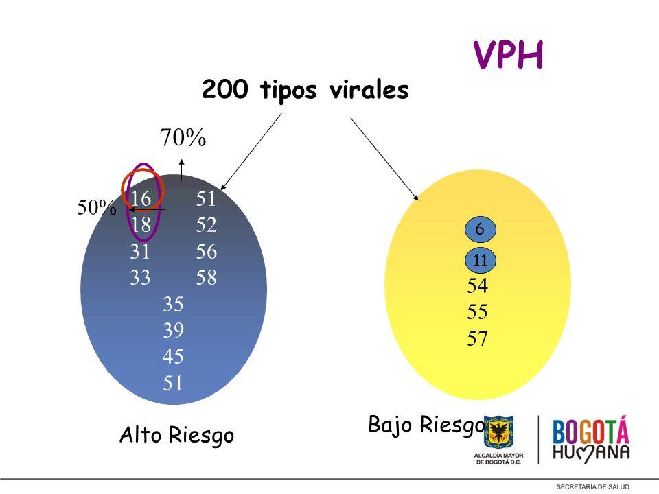 VPH 200 tipos virales 1651 1852 3156 3358 35 39 45 51 6 11 54 55 57 70% 50% Alto Riesgo Bajo Riesgo 6 11