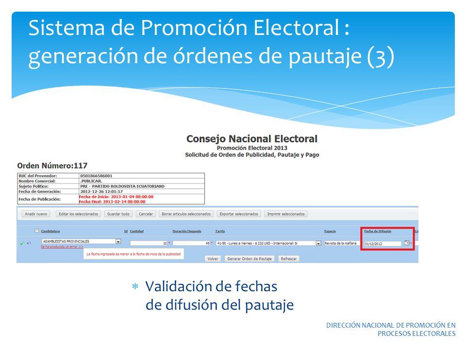 Sistema de Promoción Electoral : generación de órdenes de pautaje (3) DIRECCIÓN NACIONAL DE PROMOCIÓN EN PROCESOS ELECTORALES Validación de fechas de