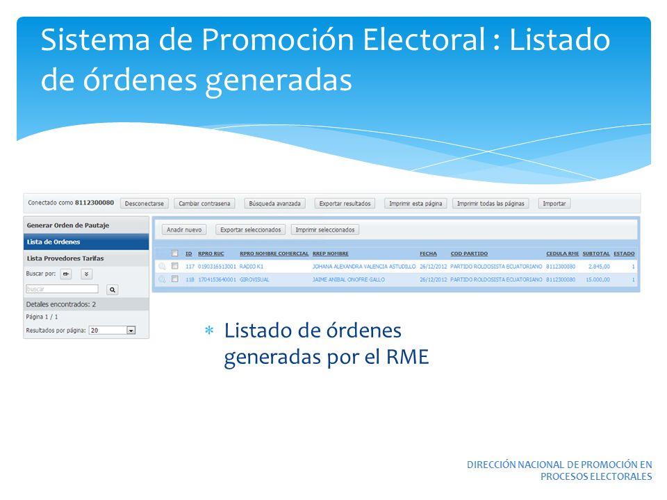 Sistema de Promoción Electoral : Listado de órdenes generadas DIRECCIÓN NACIONAL DE PROMOCIÓN EN PROCESOS ELECTORALES Listado de órdenes generadas por