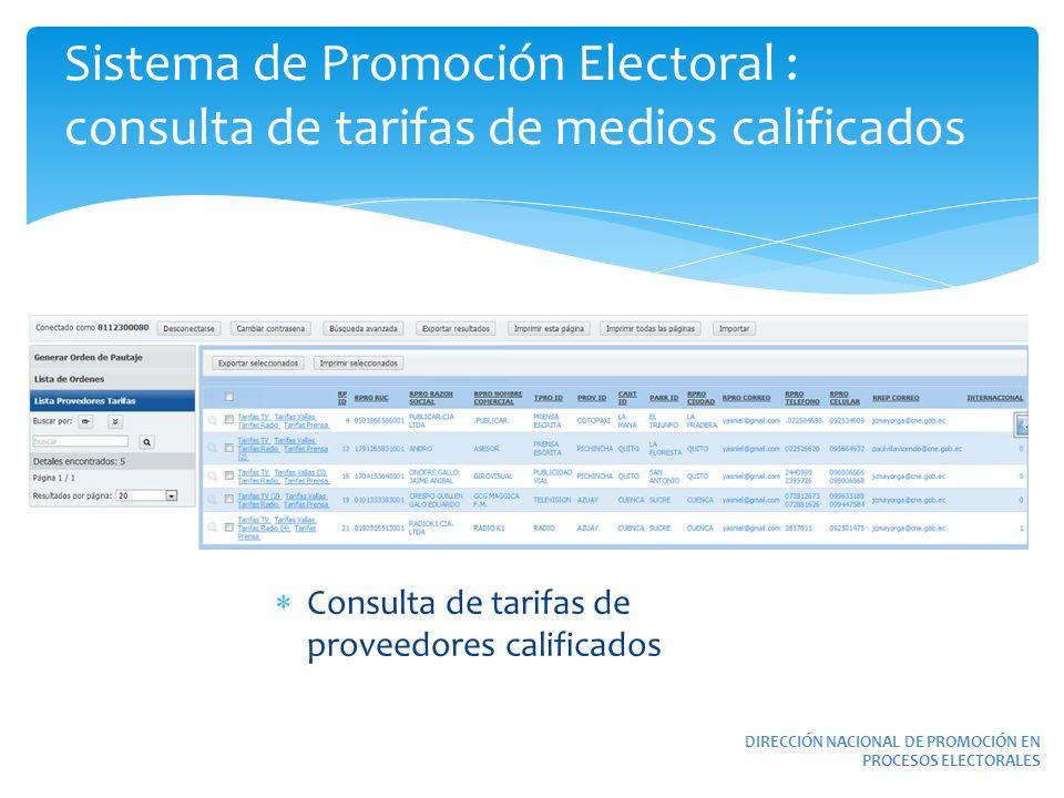 Sistema de Promoción Electoral : consulta de tarifas de medios calificados DIRECCIÓN NACIONAL DE PROMOCIÓN EN PROCESOS ELECTORALES Consulta de tarifas