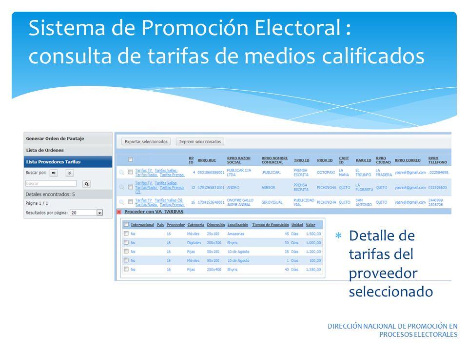 Sistema de Promoción Electoral : consulta de tarifas de medios calificados DIRECCIÓN NACIONAL DE PROMOCIÓN EN PROCESOS ELECTORALES Detalle de tarifas