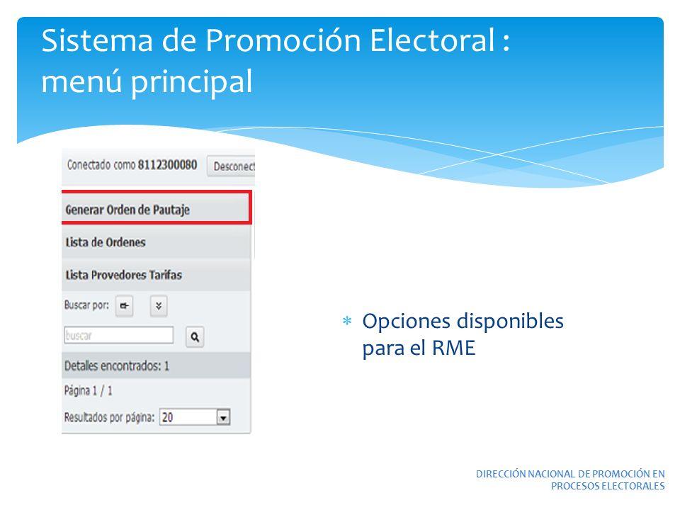 DIRECCIÓN NACIONAL DE PROMOCIÓN EN PROCESOS ELECTORALES Sistema de Promoción Electoral : menú principal Opciones disponibles para el RME