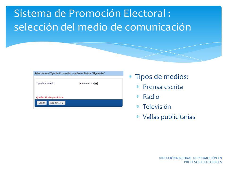 Sistema de Promoción Electoral : selección del medio de comunicación DIRECCIÓN NACIONAL DE PROMOCIÓN EN PROCESOS ELECTORALES Tipos de medios: Prensa e