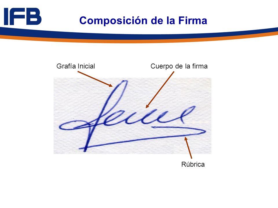 Composición de la Firma Grafía InicialCuerpo de la firma Rúbrica