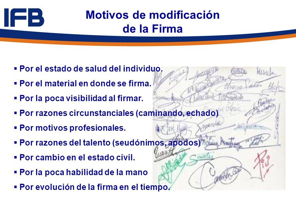 Motivos de modificación de la Firma Por el estado de salud del individuo. Por el material en donde se firma. Por la poca visibilidad al firmar. Por ra