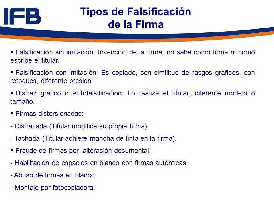 Tipos de Falsificación de la Firma Falsificación sin imitación: Invención de la firma, no sabe como firma ni como escribe el titular. Falsificación co