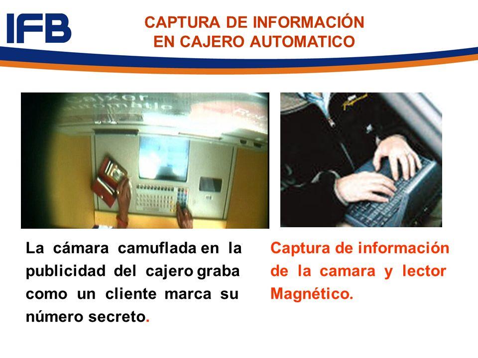 La cámara camuflada en la publicidad del cajero graba como un cliente marca su número secreto. Captura de información de la camara y lector Magnético.