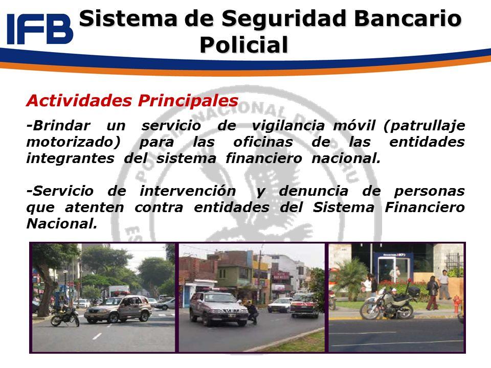 Actividades Principales -Brindar un servicio de vigilancia móvil (patrullaje motorizado) para las oficinas de las entidades integrantes del sistema fi