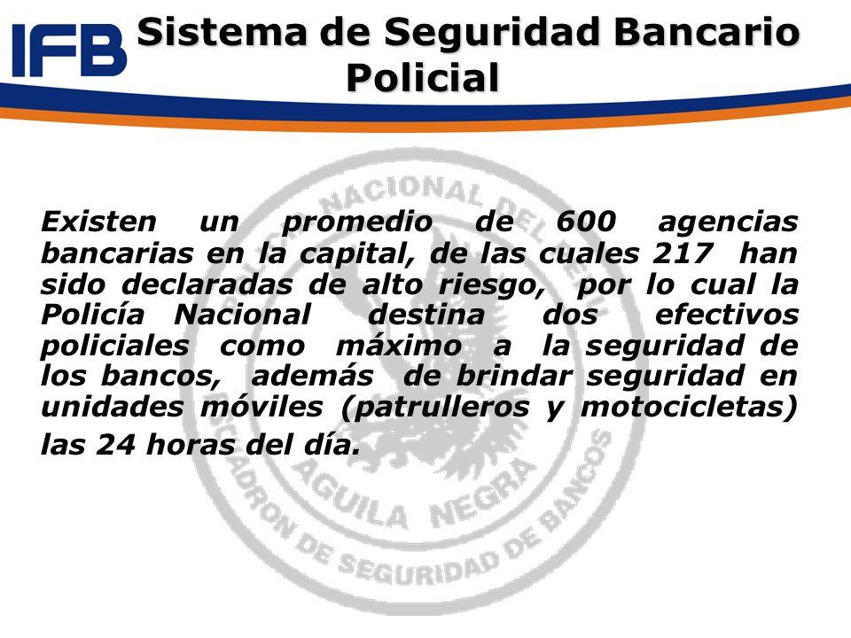 Existen un promedio de 600 agencias bancarias en la capital, de las cuales 217 han sido declaradas de alto riesgo, por lo cual la Policía Nacional des