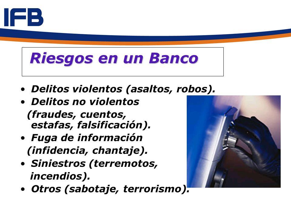 Riesgos en un Banco Riesgos en un Banco Delitos violentos (asaltos, robos). Delitos no violentos (fraudes, cuentos, estafas, falsificación). Fuga de i