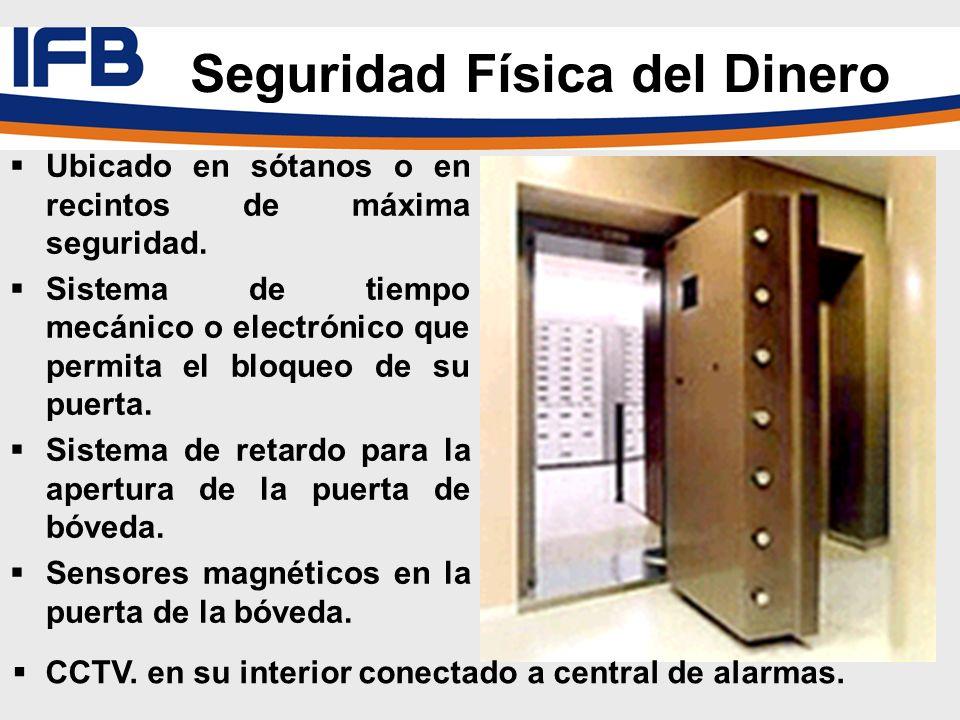 Ubicado en sótanos o en recintos de máxima seguridad. Sistema de tiempo mecánico o electrónico que permita el bloqueo de su puerta. Sistema de retardo