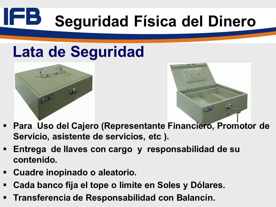 Seguridad Física del Dinero Lata de Seguridad Para Uso del Cajero (Representante Financiero, Promotor de Servicio, asistente de servicios, etc ). Entr
