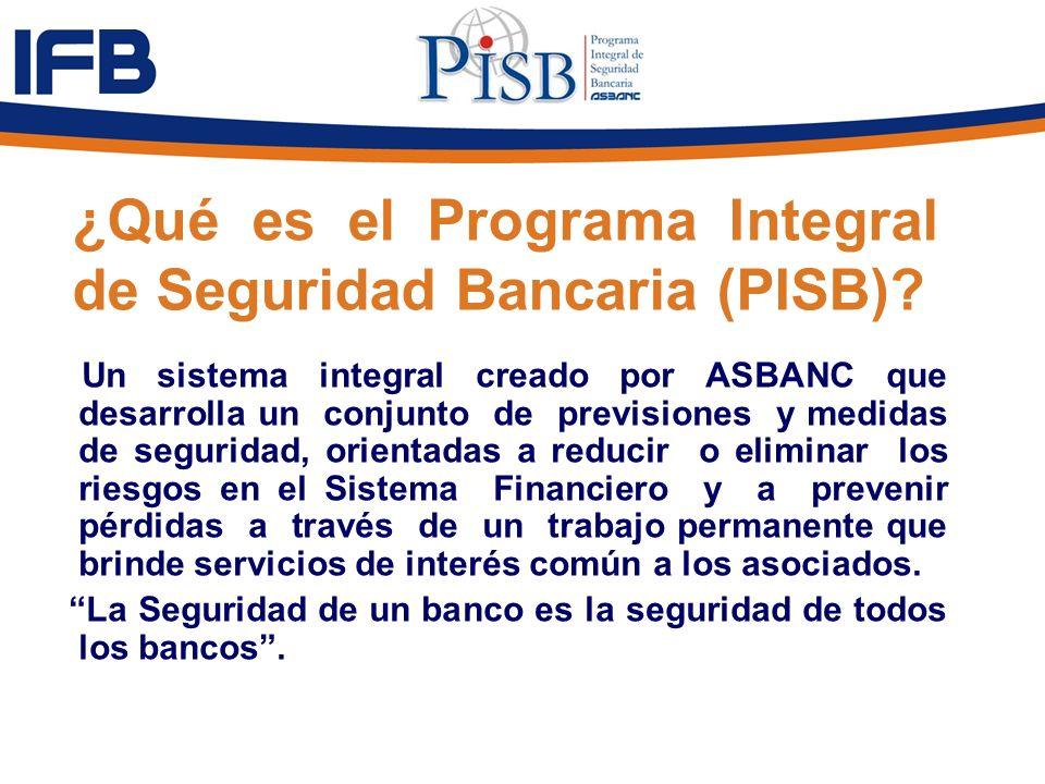 ¿Qué es el Programa Integral de Seguridad Bancaria (PISB)? Un sistema integral creado por ASBANC que desarrolla un conjunto de previsiones y medidas d