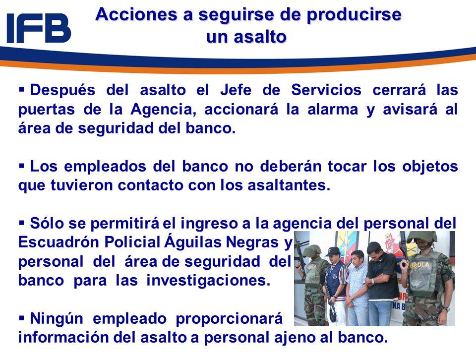 Acciones a seguirse de producirse un asalto Acciones a seguirse de producirse un asalto Después del asalto el Jefe de Servicios cerrará las puertas de