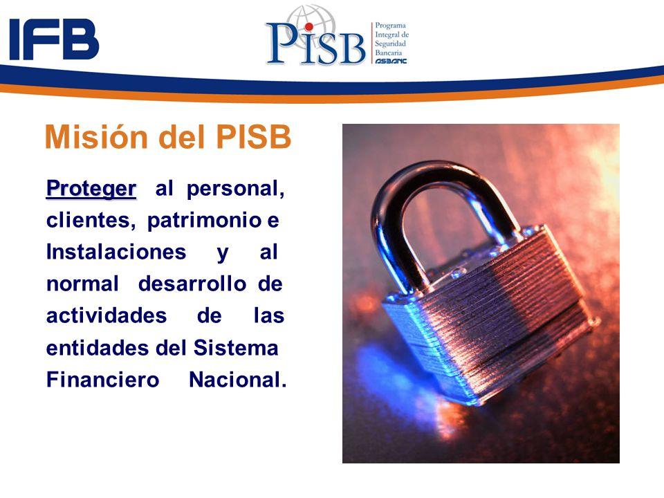 Misión del PISB Proteger Proteger al personal, clientes, patrimonio e Instalaciones y al normal desarrollo de actividades de las entidades del Sistema