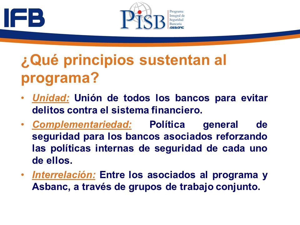 ¿Qué principios sustentan al programa? Unidad: Unión de todos los bancos para evitar delitos contra el sistema financiero. Complementariedad: Política