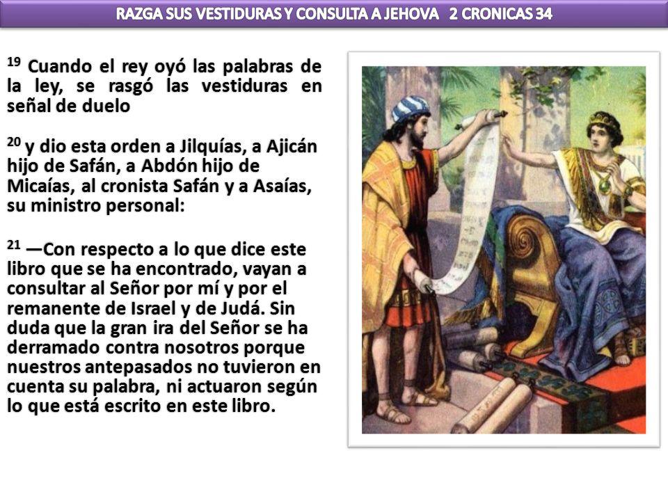 19 Cuando el rey oyó las palabras de la ley, se rasgó las vestiduras en señal de duelo 20 y dio esta orden a Jilquías, a Ajicán hijo de Safán, a Abdón