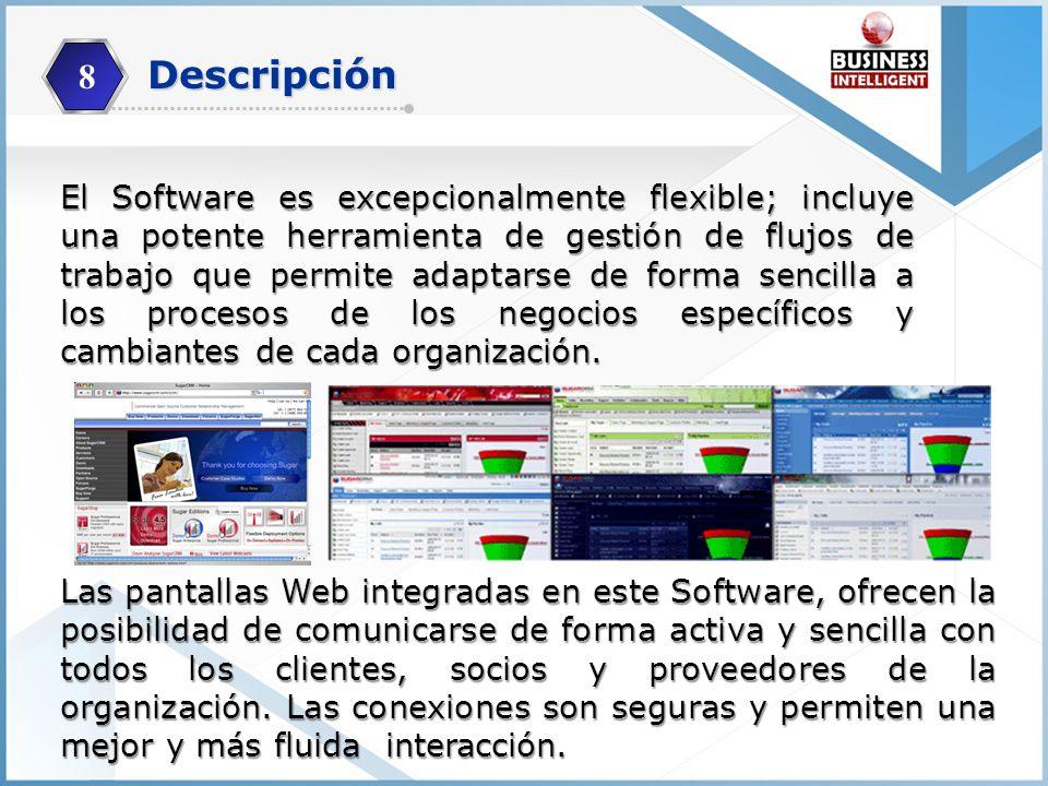 El Software es excepcionalmente flexible; incluye una potente herramienta de gestión de flujos de trabajo que permite adaptarse de forma sencilla a lo