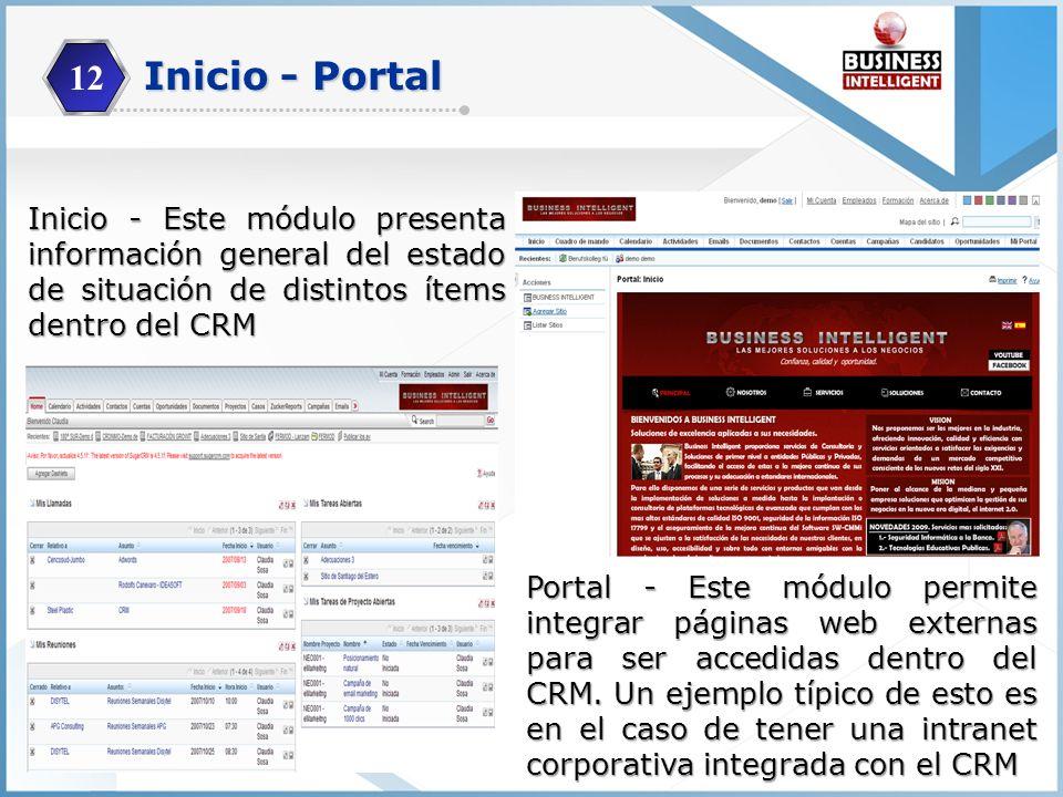 12 Inicio - Este módulo presenta información general del estado de situación de distintos ítems dentro del CRM Portal - Este módulo permite integrar p
