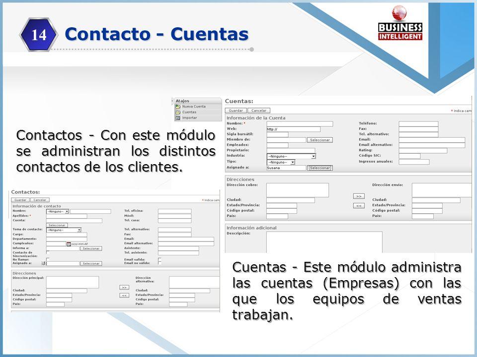 14 Cuentas - Este módulo administra las cuentas (Empresas) con las que los equipos de ventas trabajan. Contactos - Con este módulo se administran los