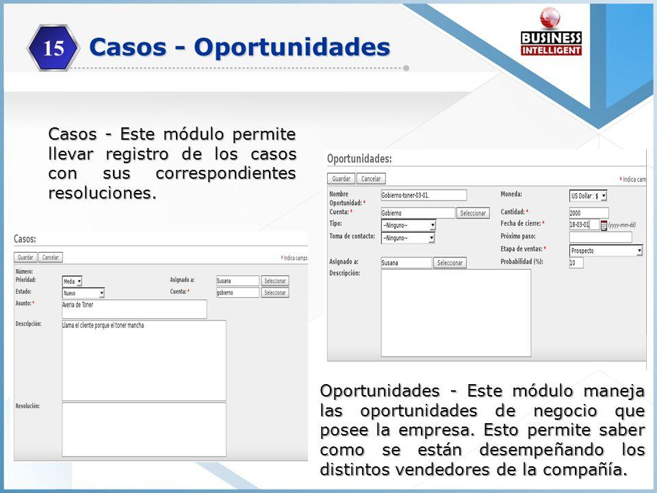 15 Casos - Este módulo permite llevar registro de los casos con sus correspondientes resoluciones. Oportunidades - Este módulo maneja las oportunidade