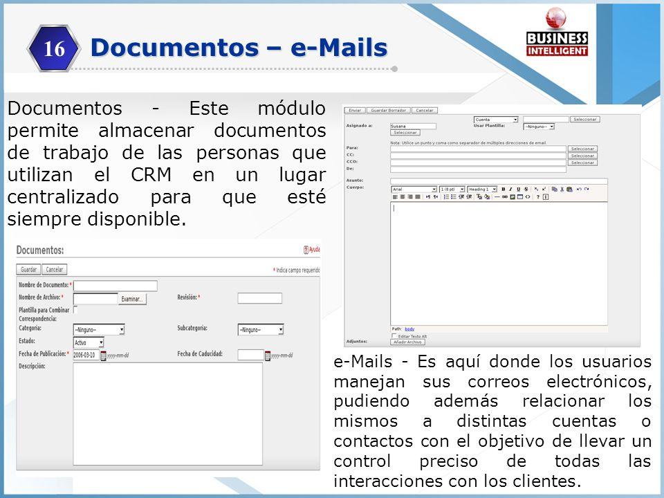 16 Documentos - Este módulo permite almacenar documentos de trabajo de las personas que utilizan el CRM en un lugar centralizado para que esté siempre