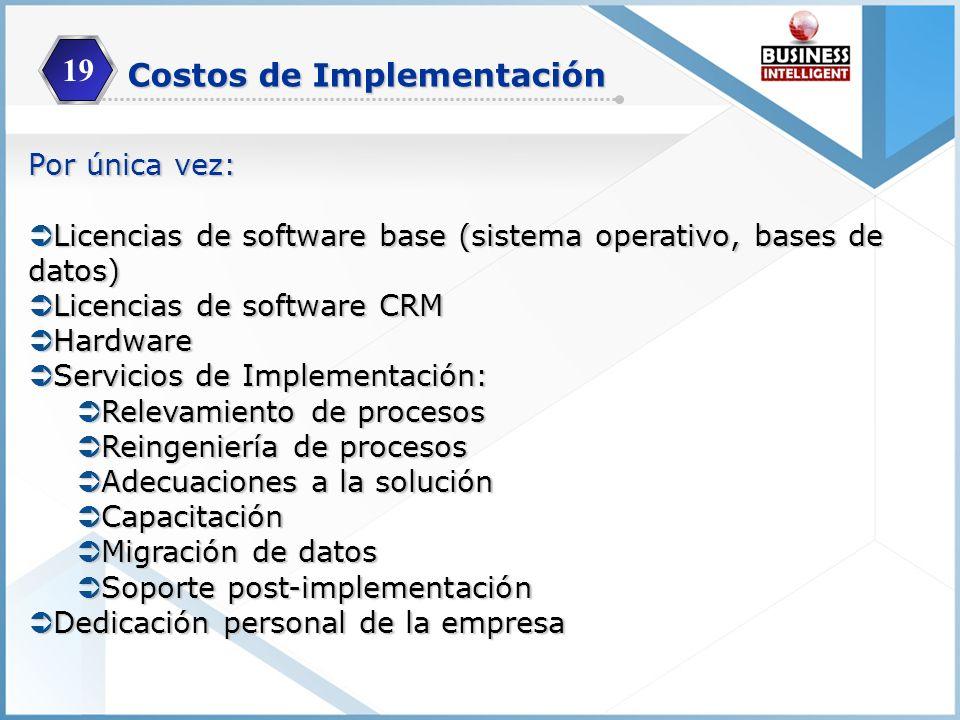 Costos de Implementación Por única vez: Licencias de software base (sistema operativo, bases de datos) Licencias de software base (sistema operativo,