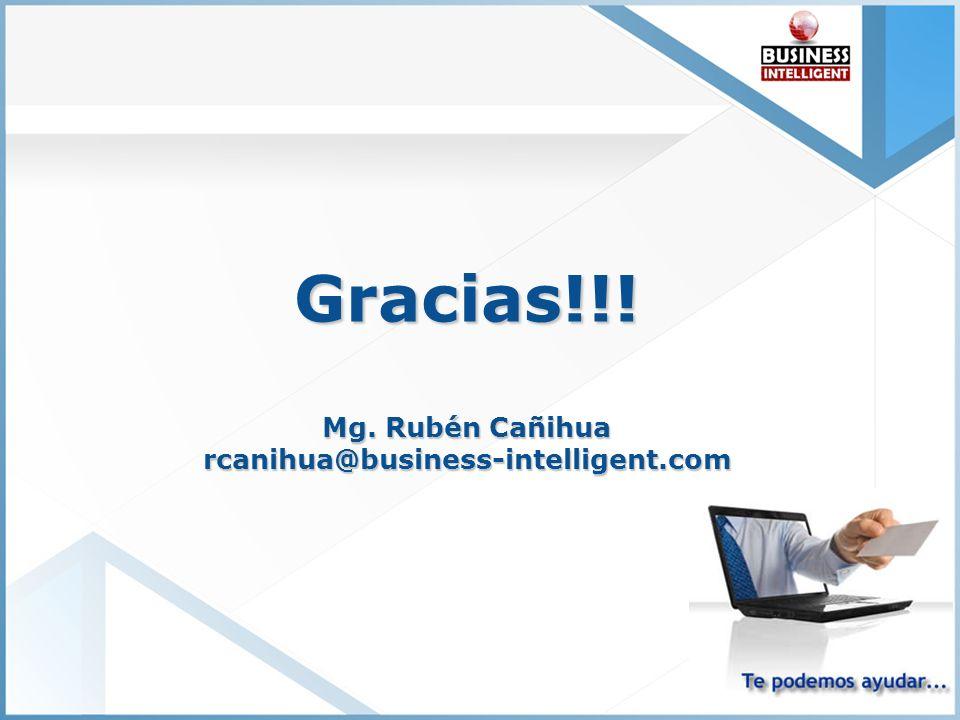 Gracias!!! Mg. Rubén Cañihua rcanihua@business-intelligent.com Última Generación en CRM Confiabilidad Sin Precedentes Bajo Costo / Alto Retorno de Inv