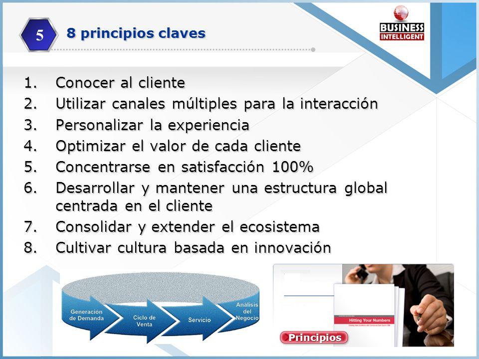 1.Conocer al cliente 2.Utilizar canales múltiples para la interacción 3.Personalizar la experiencia 4.Optimizar el valor de cada cliente 5.Concentrars