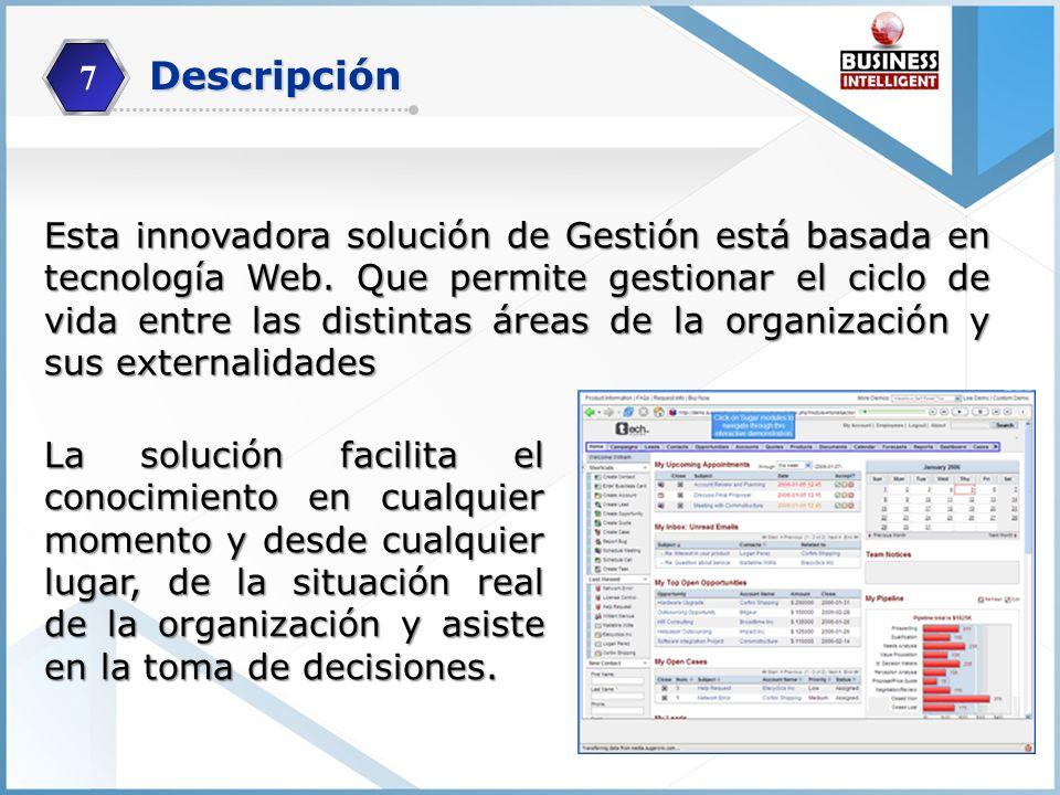 Esta innovadora solución de Gestión está basada en tecnología Web. Que permite gestionar el ciclo de vida entre las distintas áreas de la organización