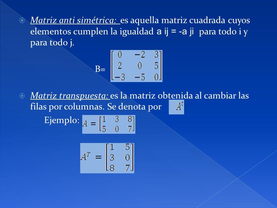 Matriz anti simétrica: es aquella matriz cuadrada cuyos elementos cumplen la igualdad a ij = -a ji para todo i y para todo j. B= Matriz transpuesta: e