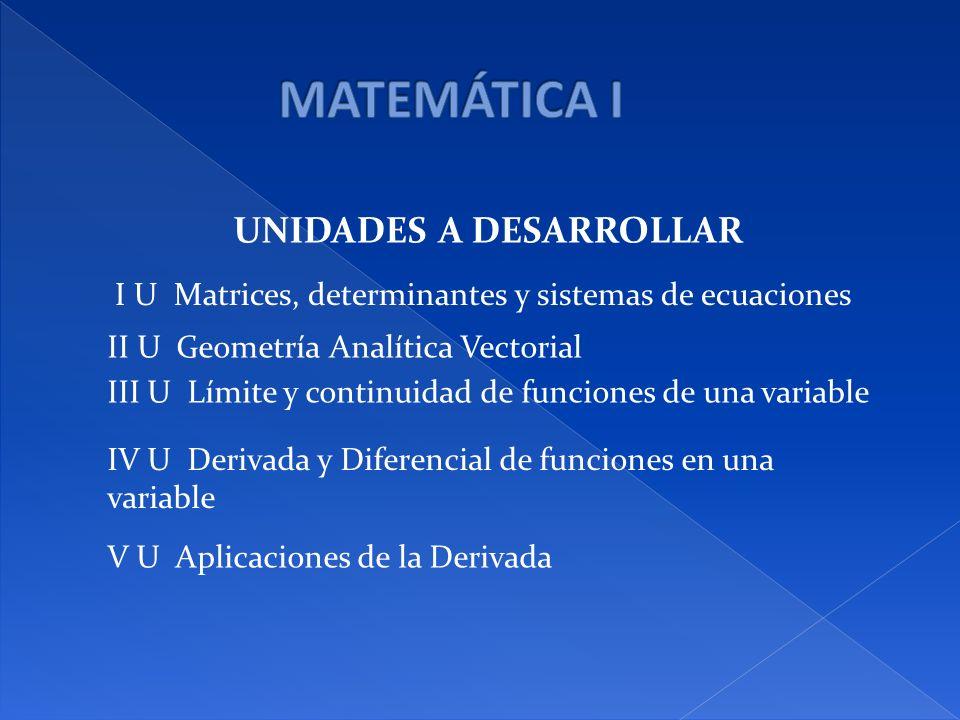 UNIDADES A DESARROLLAR I U Matrices, determinantes y sistemas de ecuaciones II U Geometría Analítica Vectorial III U Límite y continuidad de funciones