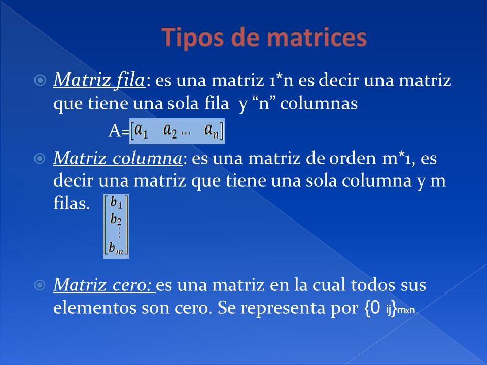 Matriz fila: es una matriz 1 * n es decir una matriz que tiene una sola fila y n columnas A= Matriz columna: es una matriz de orden m * 1, es decir un