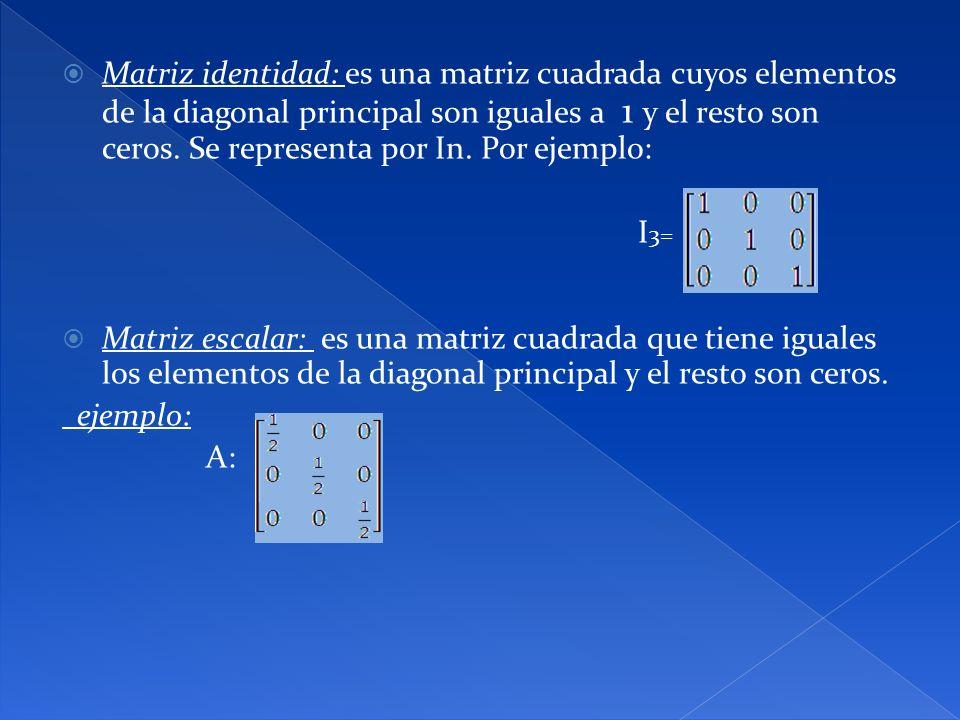 Matriz identidad: es una matriz cuadrada cuyos elementos de la diagonal principal son iguales a 1 y el resto son ceros. Se representa por In. Por ejem