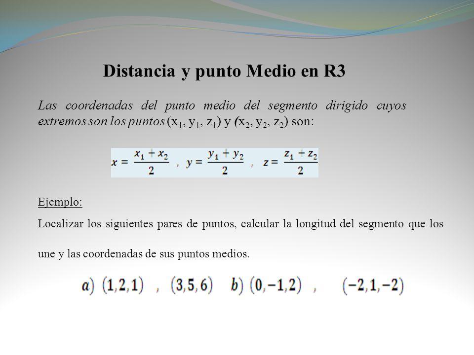 Distancia y punto Medio en R3 Las coordenadas del punto medio del segmento dirigido cuyos extremos son los puntos (x 1, y 1, z 1 ) y (x 2, y 2, z 2 )