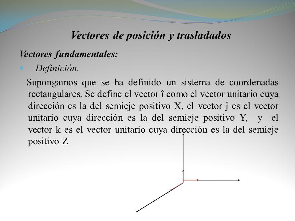 Vectores de posición y trasladados Vectores fundamentales: Definición. Supongamos que se ha definido un sistema de coordenadas rectangulares. Se defin