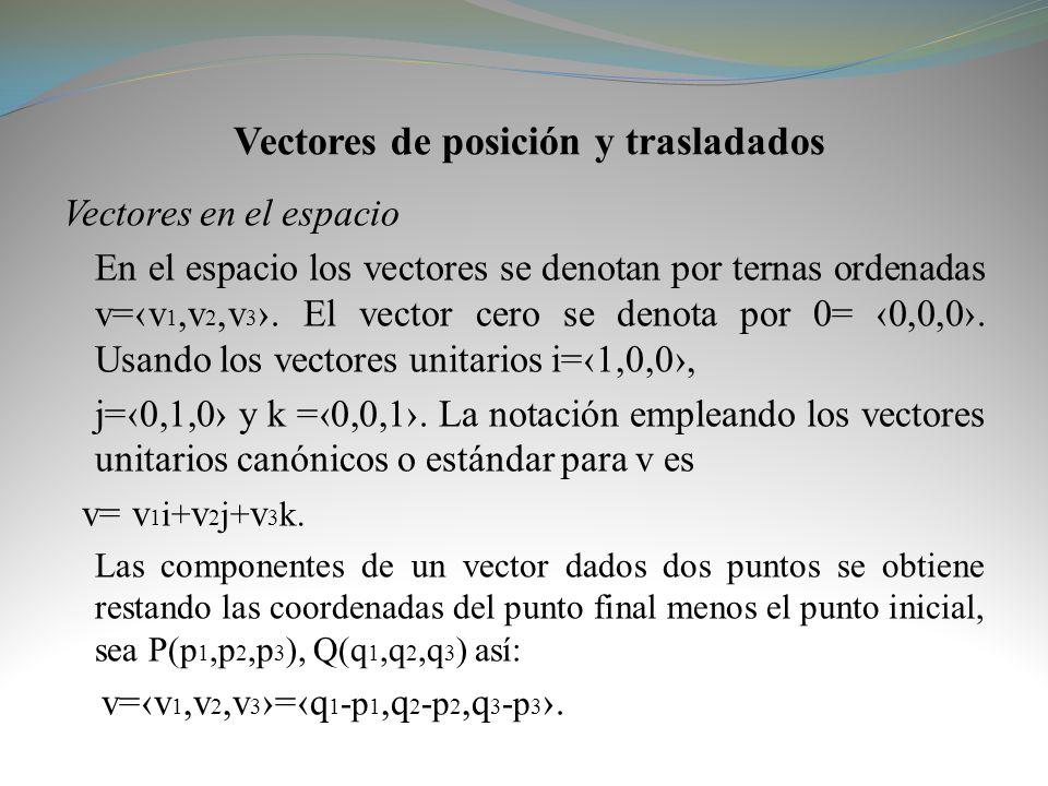 Vectores de posición y trasladados Vectores en el espacio En el espacio los vectores se denotan por ternas ordenadas v=v 1,v 2,v 3. El vector cero se