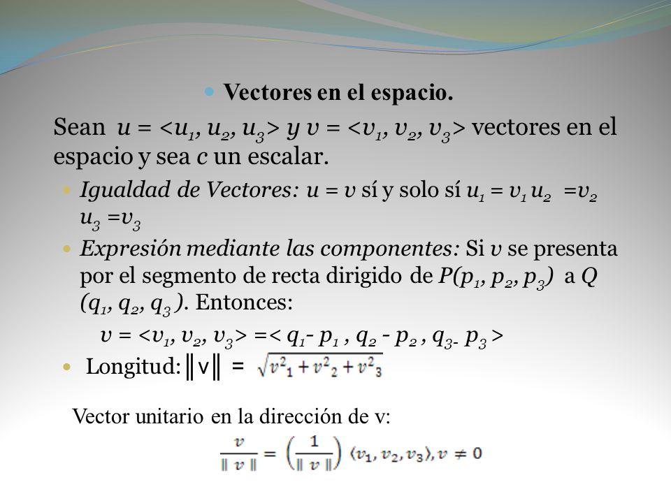 Vectores en el espacio. Sean u = y v = vectores en el espacio y sea c un escalar. Igualdad de Vectores: u = v sí y solo sí u 1 = v 1 u 2 =v 2 u 3 =v 3