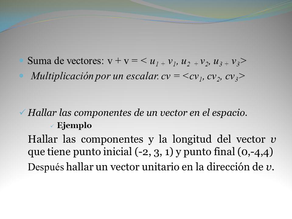 Suma de vectores: v + v = Multiplicación por un escalar. cv = Hallar las componentes de un vector en el espacio. Ejemplo Hallar las componentes y la l