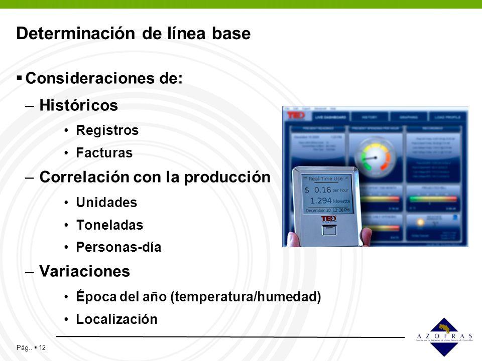 Pág.. 12 Determinación de línea base Consideraciones de: –Históricos Registros Facturas –Correlación con la producción Unidades Toneladas Personas-día