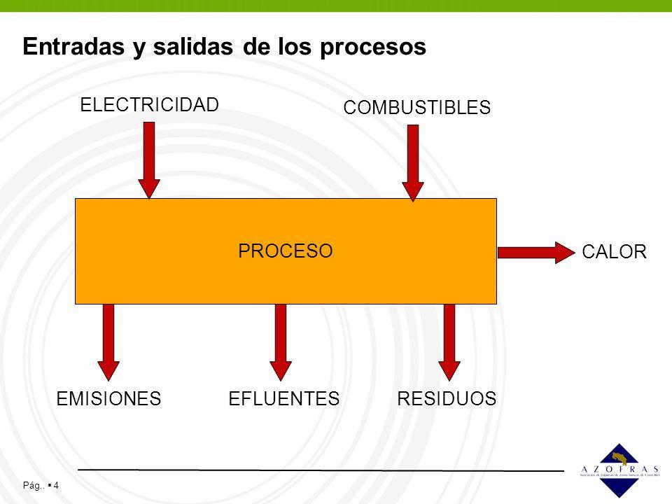 Pág.. 4 Entradas y salidas de los procesos PROCESO EMISIONES COMBUSTIBLES ELECTRICIDAD EFLUENTESRESIDUOS CALOR