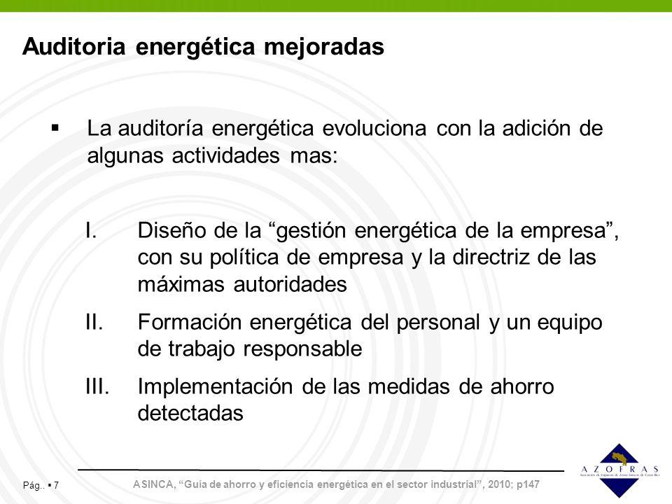 Pág.. 7 Auditoria energética mejoradas ASINCA, Guía de ahorro y eficiencia energética en el sector industrial, 2010; p147 La auditoría energética evol