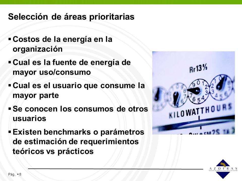 Pág.. 8 Selección de áreas prioritarias Costos de la energía en la organización Cual es la fuente de energía de mayor uso/consumo Cual es el usuario q
