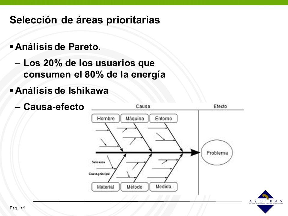 Pág.. 9 Selección de áreas prioritarias Análisis de Pareto. –Los 20% de los usuarios que consumen el 80% de la energía Análisis de Ishikawa –Causa-efe